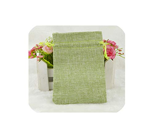 Hot 50Pcs Linen Jute Drawstring Pouch Cotton Mix Color Packages For Packaging Gift Wedding Party Christmas Candy Bags (4 Size),Light Green,13X18Cm