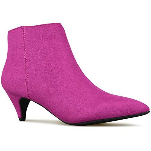 Premier Standard - Women's Zipper Closed Toe Ankle Bootie - Comfortable Thin Heel– Low Heel Comfortable Walking Booties Magenta Imsu