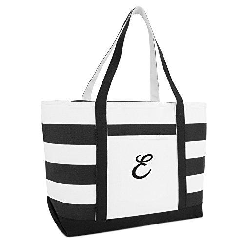 Letter Bags Bag Striped Black Beach Ballent E Canvas DALIX Z Personalized Tote A cgznpBwqW