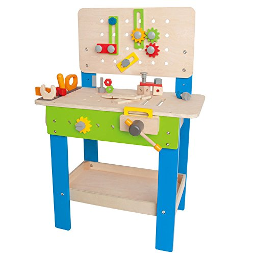 Hape Master Workbench by Award Winning Kid's Wooden Tool Bench Toy Pretend Play Creative Building Set, Height Adjustable 32 Piece Workshop for Toddlers (Child Tool Bench)