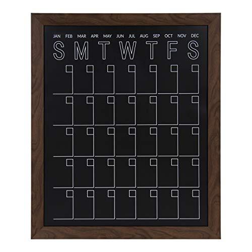 DesignOvation Beatrice Framed Magnetic Chalkboard Monthly Calendar, 27x33, Walnut Brown