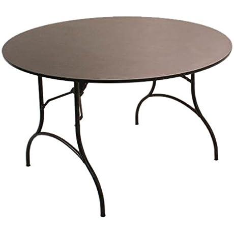 MityLite Madera Folding Table 60 Round Studio Teak