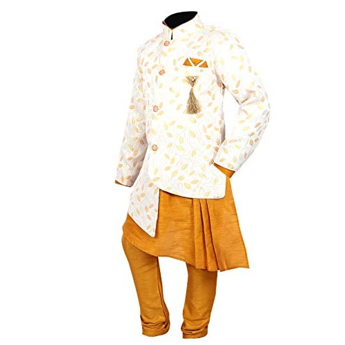 41fdPl3n4mL. SS500  - Ahhaaaa Kids Ethnic Wear Kurta Pyjama Waistcoat Set For Boys