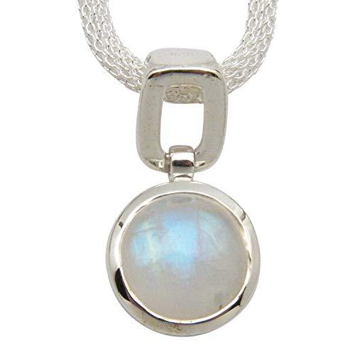 (Fundamental Rockhound Products: Rainbow Moonstone Gemstone Sterling Silver Pendant on 18