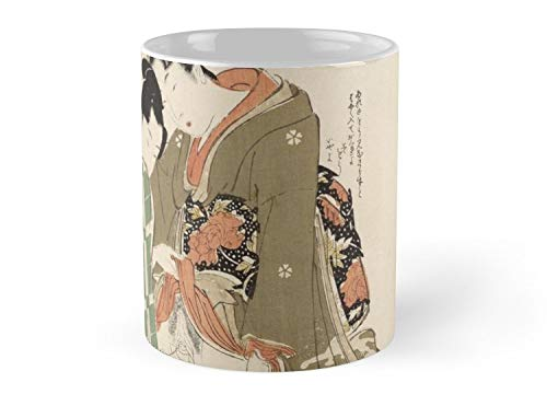 Hued Mia UTAMARO, THREE SHUNGA WOODBLOCK PRINTS BY UTAMARO Mug - 11oz Mug - Features wraparound prints - Dishwasher safe - Made from Ceramic - Best gift for family friends