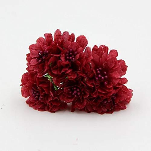 ShineBear 60pcs Silk Artificial Daisy Carnation Flower Bouquet DIY Scrapbooking for Wedding Decoration Craft Fake Flowers - (Color: Burgundy)