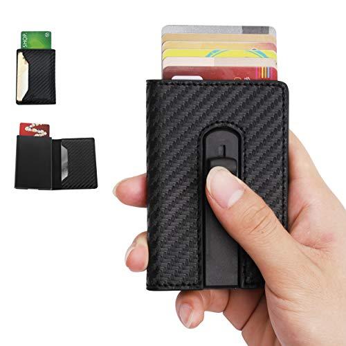 Tarasun RFID Blocking Card Holder/Case for Men, Carbon Fiber PU Leather, RFID Pop-Up Card Holder, Slim, Minimalist Wallet, Lightweight Aluminum/Metal Credit Card Holder, for Front Pocket, Hold 8 Cards