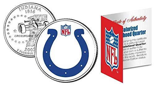 Licensed Indianapolis Colts NFL Colorized Indiana Statehood Quarter! W/H COA & Display Stand!