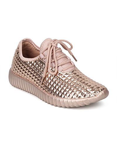 Alrisco Femme Pyramide Cloutée Lacets Up Jogger Sneaker - Hf79 Par Wild Diva  Collection Rose Or. chaussures ...