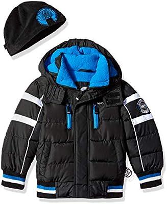 7234272f8 Weatherproof Boys' Little Bubble Jacket with Striped Hem Cuffs ...