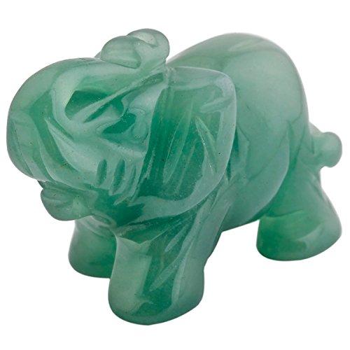 mookaitedecor Green Aventurine Crystal Elephant Sculpture Statue Crafts Healing Reiki Pocket Gemstone Figurines 1.5 Inch