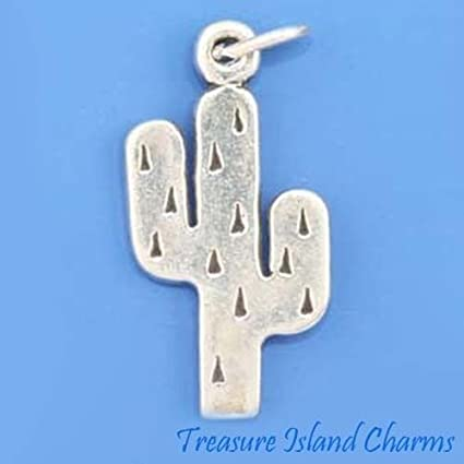 Saguaro Cactus With Wheel Charm In Antiqued 925 Sterling Silver