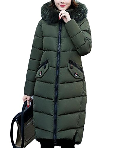 Zipper Down Longline Fit Decorated Slim Womens Basic Hooded Againg Green Cotton PxW5wgTqW7