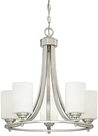 Millennium 7255-SN Five Light Chandelier, Pwt, Nckl, B S, Slvr