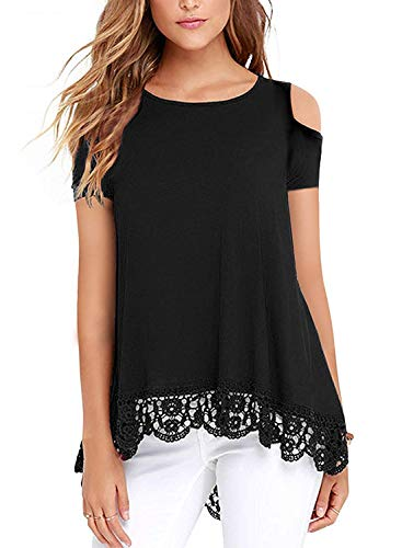 UUANG Women's Scoop Neck Short Sleeve Cold Shoulder Summer Pleated Casual Tunic Tops Black