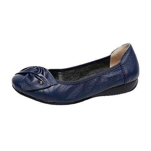 Zapatos R hecho planos mocasines estilo femeninos SODIAL US4 coche femeninos en zapatos de zapatos mano Ballet zapatos casuales deslizantes de a azul de planos genuino cuero 1qEq0rpHc