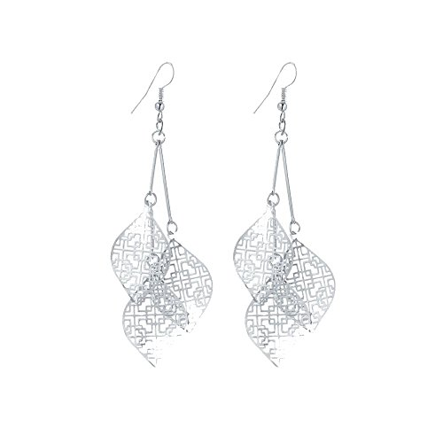 IDB Delicate Filigree Dangle Triple Leaf Drop Hook Earrings - Available in Silver and Gold Tones (Silver Tone)