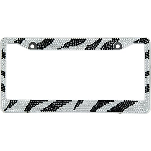 (Zebra Black / Clear Crystal Rhinestones ABS Chrome License Plate Frame With Crystal Screw Caps - 1 Frame)