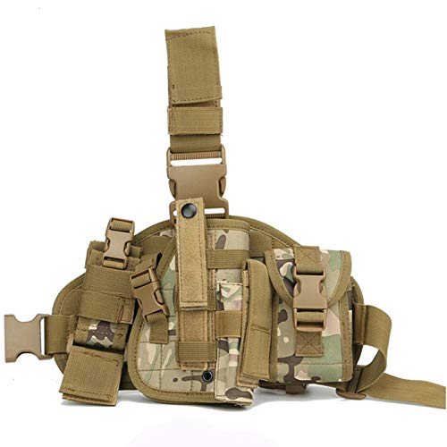 Gexgune Universal Adjustable Military Army Tactical Drop Leg Thigh Pistol Gun Holster Platform Panel with MOLLE Pouches Hunting Bag (CP)
