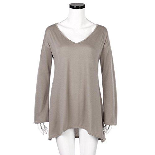 Manches T BZLine Tops Fille solide Gris Fold longues Hem Deep Shirt Blouse Pull Femmes Lache V tqSw4tXP