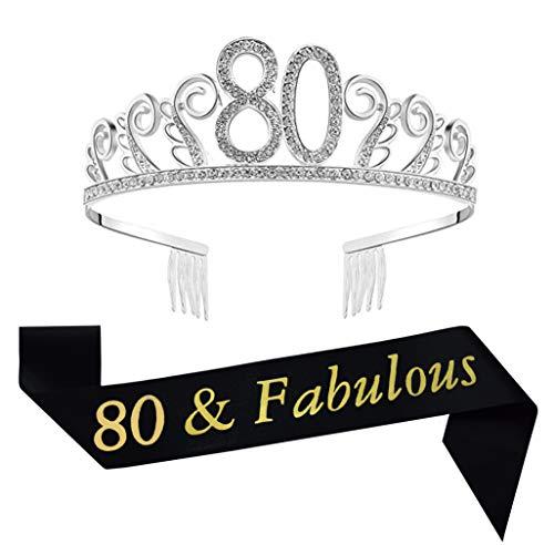 80th Brithday Tiara and Sash, Happy 80th Birthday Decorations Party Supplies, 80 & Fabulous Sash and Crystal Rhinestone Birthday Crown, 80th Birthday Cake Topper]()
