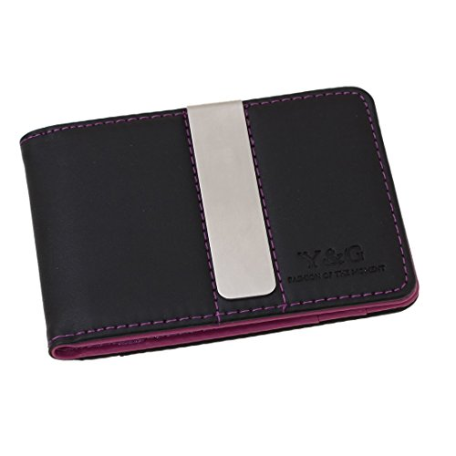 YCM13A02 Purple Black Great Rack Mens Synthetic Leather Wallet with Stainless Steel Money Clip Christmas Gift Idea By (Black Leatherette Money Clip)