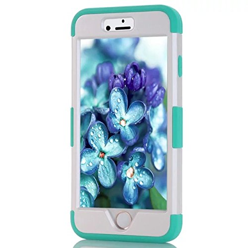 IPhone 6 Coque,Iphone 6S Coque,Lantier [Hard Soft Coque dur] concepteur Crystal Bling Hybrid Cover Coque Armure pour Apple Iphone 6 6S Blanc + Mint Green