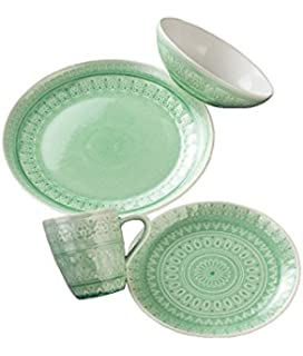 Amazon.com   Mainstays Classic Mint 12-Piece Set Round Dinner Set ...