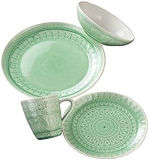 Euro Ceramica Fez 16 Piece Dinnerware Set Mint Green  sc 1 st  Amazon.com & Amazon.com | Mainstays Classic Mint 12-Piece Set Round Dinner Set ...
