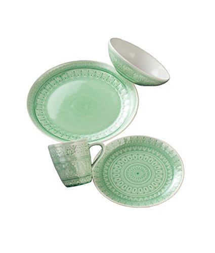 Euro Ceramica Fez 16 Piece Dinnerware Set, Mint Green