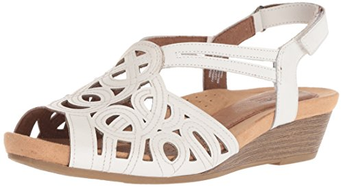 (Rockport Cobb Hill Women's Helen CH Wedge Sandal,White,6.5 M US)