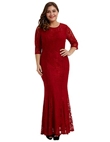 Hanna Nikole Womens Full Lace Plus Size Bridesmaid Wedding Cocktail Party Maxi Dress