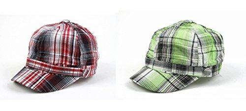 Pop Unisex 3 Button Plaid Cadet Style Cap Hat (2 pcs Red & Green)