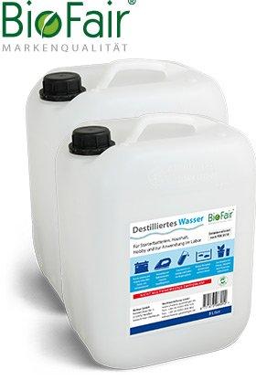 BioFair® Agua desmineralizada (20 litros) de acuerdo con VDE 0510 - 2 x
