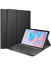 حافظة جلدي للوحة المفاتيح سامسونج جالكسي Tab S6، غطاء حامل رفيع خفيف الوزن فوليو مزود بإضاءة خلفية لوحة مفاتيح بلوتوث لاسلكية قابلة للإزالة لهاتف سامسونج جالكسي TAB S6 10. 5 بوصة 2019 SM-T860 (أسود)