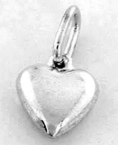 Sterling Silver Puff Heart Charm/Pendant 12 mm X 13mm Vintage Crafting Pendant Jewelry Making Supplies - DIY for Necklace Bracelet Accessories by CharmingSS