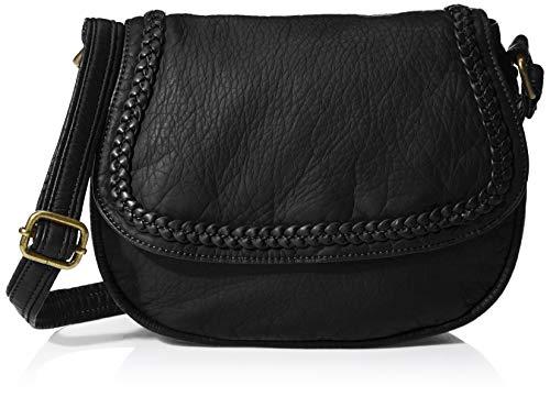 - Keyli Ladies Vintage Washed PU leather Soft and Lightweight Crossbody Purse with Braid Flap Women Shoulder Bag (Black)