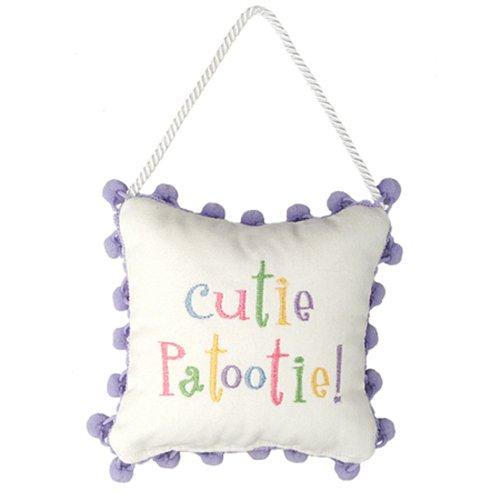 Leyla's Pillows Cutie Patootie! Nursery Room Decor Door Hanger, 6'' x 6'', Multicolor
