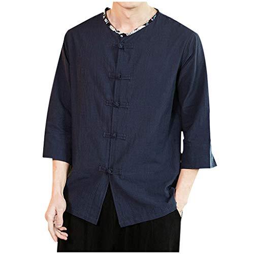 Men Frog-Button Shirt Linen Cotton Mandarin Collar Roll-Up 3/4 Sleeve Top Blouse (2XL, Navy)