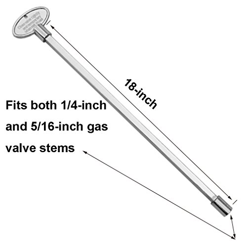 """Stanbroil Universal 18-Inch Gas Valve Key, Fits 1/4"""" and 5/16"""" Turn Ball Valve, , Polished Chrome"""