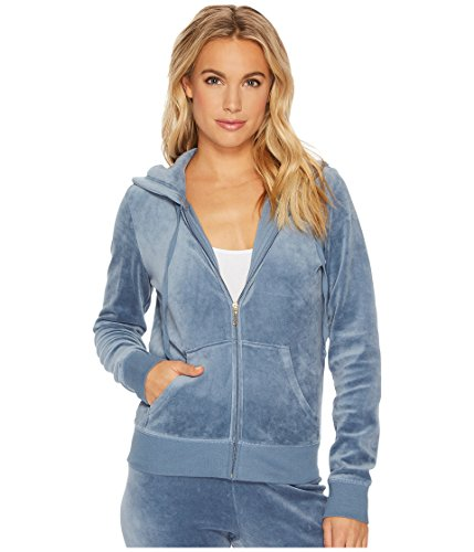 Juicy Couture Black Label Roberston Womens Velour Hoodie Jacket Blue Size ()