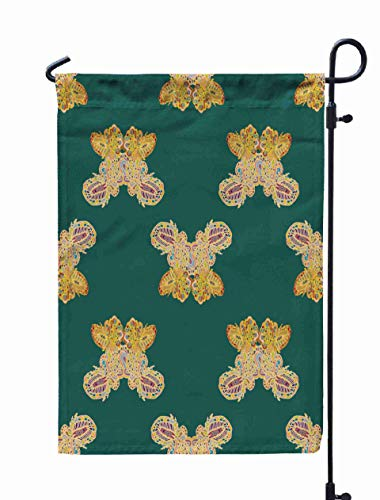 Shorping Open Garden Flag, 12x18Inch Butterfly Doodle Pattern Inspired Art New Backdrop Drawn Background Can for Holiday and Seasonal Double-Sided Printing Yards Flags]()