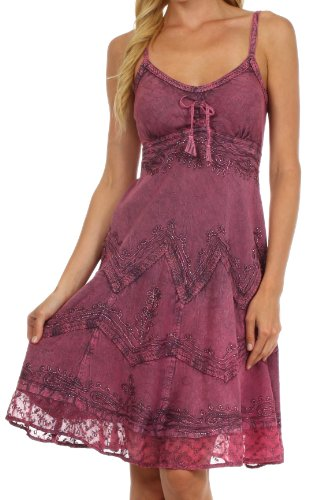 Sakkas 4031 Stonewashed Rayon Adjustable Spaghetti Straps Mid Length Dress - Orchid - 1X2X