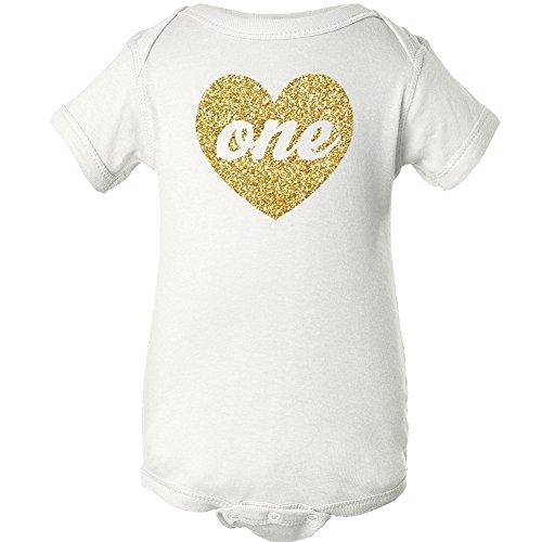 Zoey's Attic First Birthday Gold Sparkly Heart One (9m Bodysuit, White)