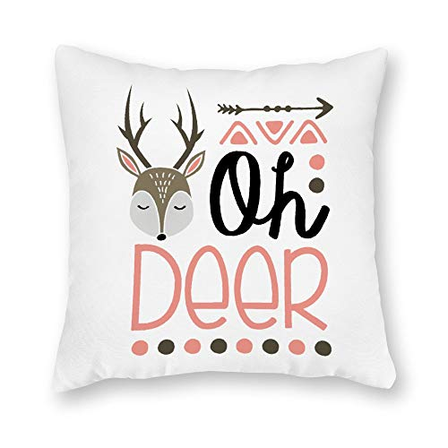 (DKISEE Decorative Oh Deer Square Throw Pillow Cover Canvas Pillow Case Sofa Couch Chair Cushion Cover for Home Decor )