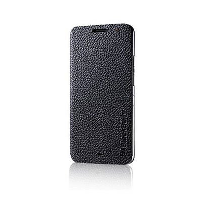 Leather Covered Rim - Genuine RIM BlackBerry Z30 Black Leather Flip Case - ASY-55473-001 New