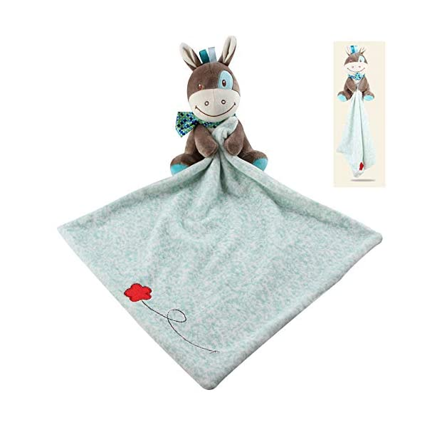 Adorable Soft Security Blanket with Plush Donkey for Baby or Toddler – Newborn Baby Shower Gift