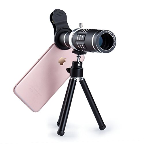 18X HD Telephoto Lens Kit for Phone Camera, i.VALUX Zoom Telescope Telescopic Lens with Mini Tripod for iPhone Samsung Smartphone - Black