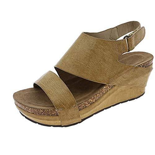 Wedge Sandals for Women,Open Toe Adjustable Strap Cutout Belt Platform Faux Leather Cork High Heels (US:5.5, Yellow)