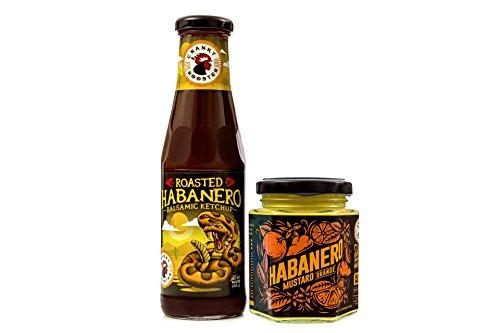 - Cranky Rooster HABANERO Hot Sauce Unique Gift Set: Samll Batch Habanero Balsamic Ketchup and Habanero Orange Spicy Hot Pepper Mustard